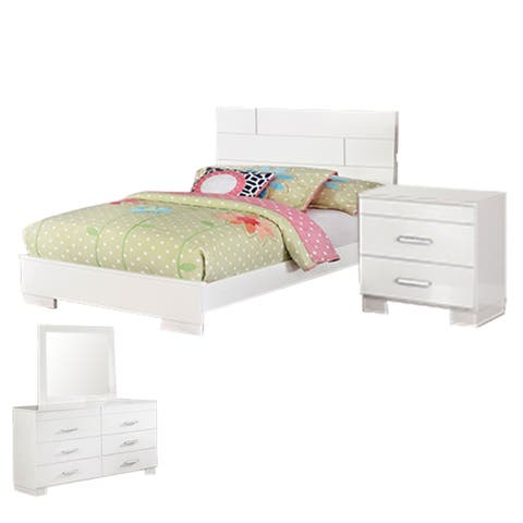 Contemporary 4 Piece Glossy Wooden Full Bedroom Set, White