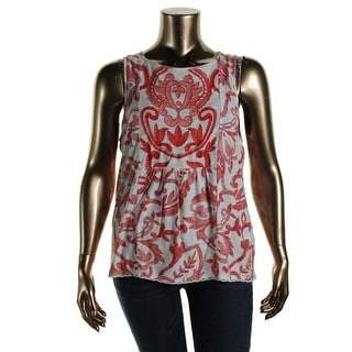 Lucky Brand Womens Embroidered Lace Trim Casual Top