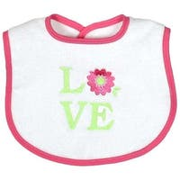 """Raindrops Baby Girls """"Love"""" Embroidered Bib, Pink - One Size"""