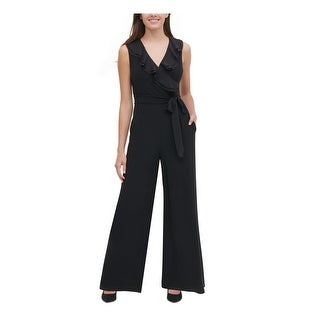 TOMMY HILFIGER Womens Black Sleeveless Wide Leg Jumpsuit  Size 14