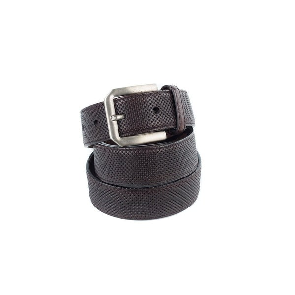 Brunello Cucinelli Brown Leather Perforated Silver End-Tip Belt
