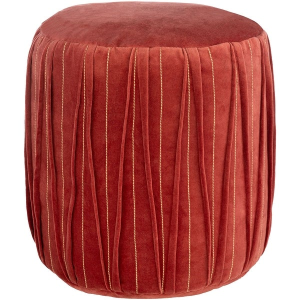 """16"""" Red Stitched Patterned Cylindrical Pouf Ottoman - N/A"""