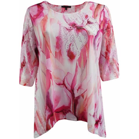 Women Plus Size Rhinestones Asymmetrical Fashion Blouse Tee Shirt Knit Top Pink Combo G170.16L