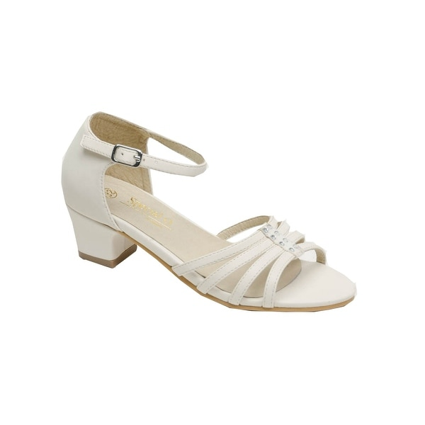 662bfdd5c Shop Pazitos Girls Ivory Itsy Bitsy Glitsy Buckle Kitten Heel Sandals - Free  Shipping On Orders Over $45 - Overstock - 26521327