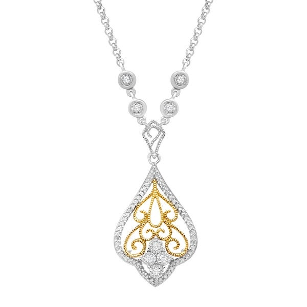 1/10 ct Diamond Pendant in Sterling Silver & 14K Gold