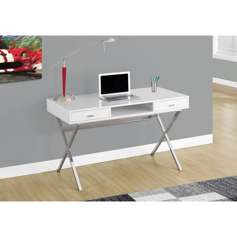 Monarch 7211 Glossy White Chrome Metal 48nch Computer Desk