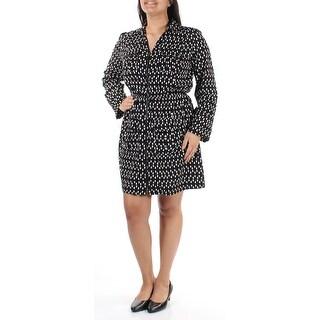 ALFANI Womens Black Long Sleeve Collared Above The Knee Dress  Size: 8