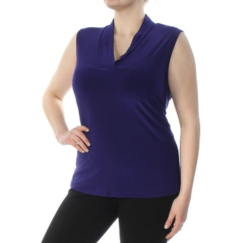 ANNE KLEIN Womens Purple Pleated Shell Sleeveless V Neck Top Plus Size: 2X