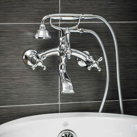 Pelham & White Luxury Tub Filler Faucet, Vintage Design, Wall Mount Installation, Cross Handles, Polished Chrome Finish