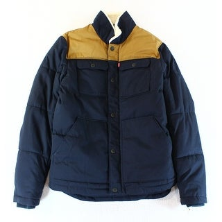Levi's NEW Blue Beige Mens Size Small S Full Zip Quilted Puffer Jacket