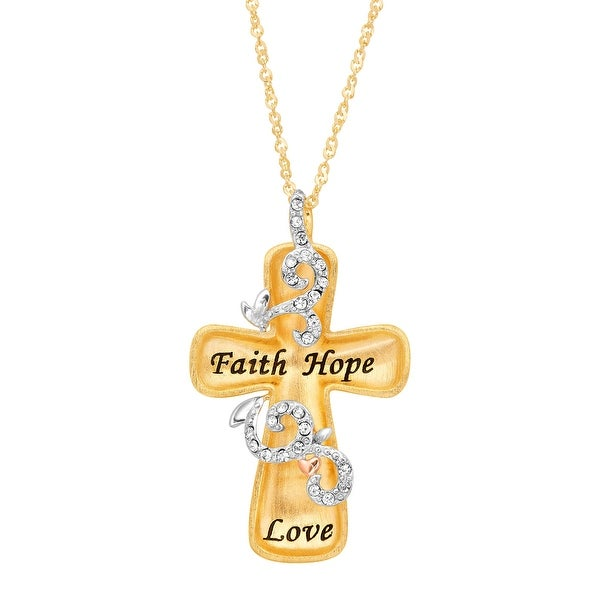 Crystaluxe Engraved Concave Cross Pendant with Swarovski Crystals in 18K Gold-Plated Sterling Silver