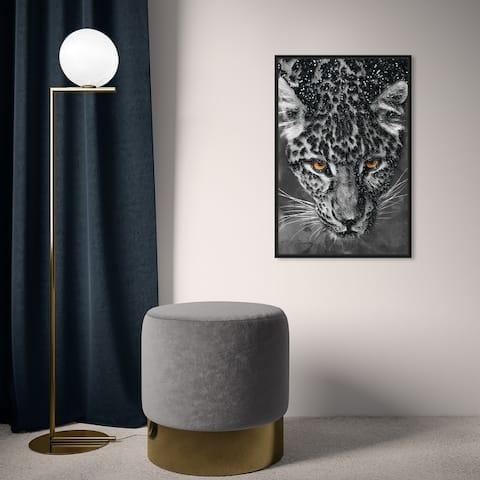 Oliver Gal 'Leopard Spots Glitter' Animals Wall Art Framed Canvas Print Felines - Gray, Orange