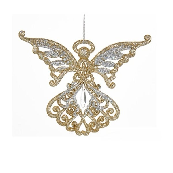 "4"" Silver and Gold Glitter Angel with Pendant and Butterfly Wings Christmas Ornament"