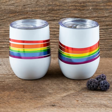 Cambridge Silversmiths White Wine Tumblers with Metallic Rainbow Wrap Decal Set of 2, 12 ounce - 12 ounce