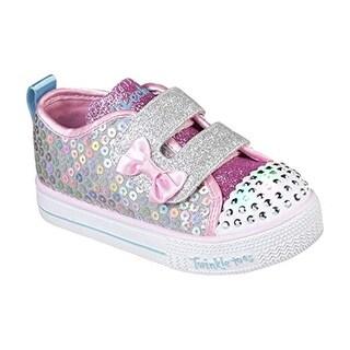 Skechers Kids Girls' Shuffle Lite-Mini Mermaid Sneaker, Silver/Multi, 5.5 Medium Us Toddler
