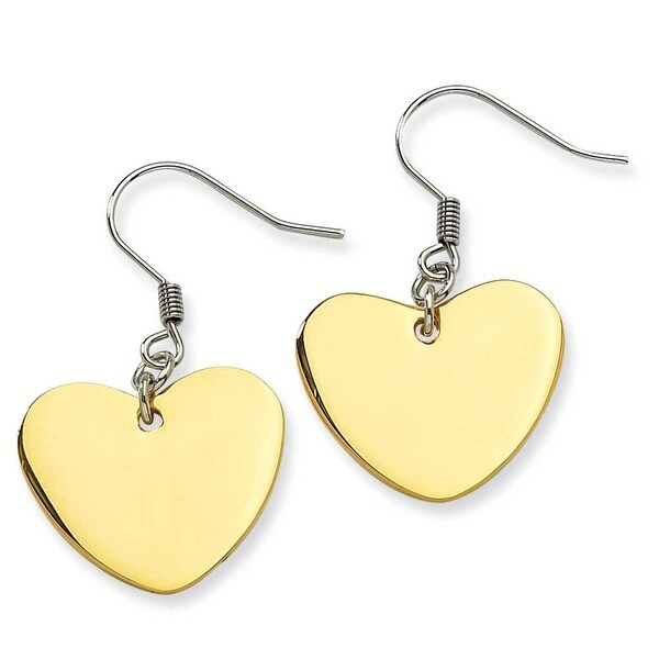 Chisel Stainless Steel Polished Heart Dangle Earrings