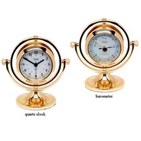 """10"""" Gold Antique Round Shaped Clock and Barometer"""