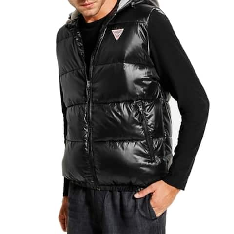 Guess Mens Jacket Black Size Small S Vest Puffer Hooded Sleeveless