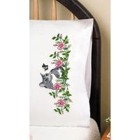 """Stamped Pillowcase Pair For Embroidery 20""""X30""""-Grey Cat"""
