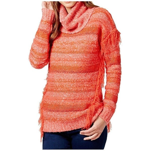 a1a70e44c3 Shop Kensie NEW Orange Fringed Women s Size Small S Turtleneck Sweater -  Free Shipping On Orders Over  45 - Overstock.com - 16814329