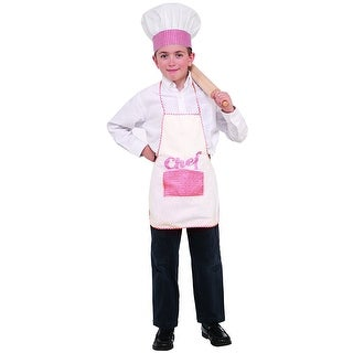 Red Checkered Chef Apron & Hat Child Costume Set - White