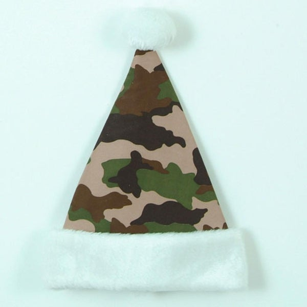 "14"" Brown, Tan and Green Camouflage Print with White Cuff Christmas Santa Hat - black"