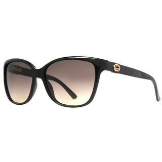 GUCCI Square GG 3645/S Women's D28/ED Shiny Black Brown Gradient Sunglasses - 56mm-15mm-135mm
