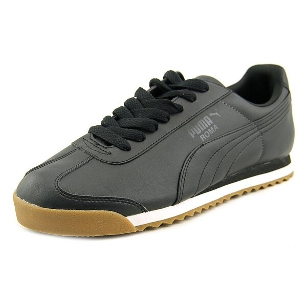 Puma Roma Men Round Toe Leather Black Sneakers