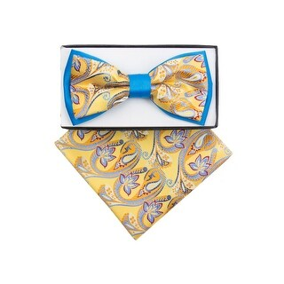 Men's Blue, Yellow Paisley Pre-tied Adjustable Two-Tone Bow tie Handkerchief Set - One size