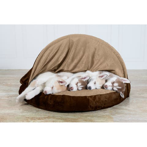 FurHaven Pet Bed Orthopedic Microvelvet Snuggery Burrow Dog Bed