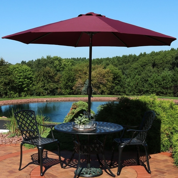 Sunnydaze 9-Foot Patio Umbrella - Fade Resistant with Auto-Tilt - Color Burgundy - 9 ft