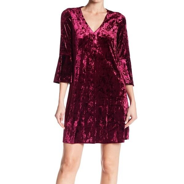 Eliza J Womens Velvet Bell-Sleeve V-Neck Sheath Dress
