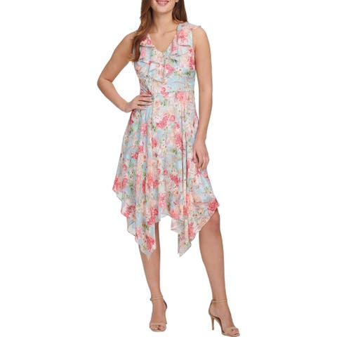 Kensie Womens Midi Dress Floral Ruffled - Sky