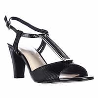 KS35 Lorah Metal T-Strap Dress Sandals, Black - 7 us