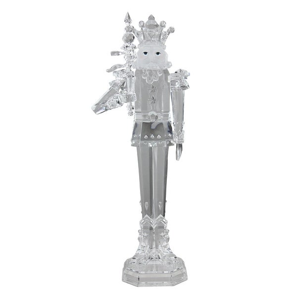 """17.5"""" Icy Crystal Decorative King with Scepter Christmas Nutcracker - CLEAR"""