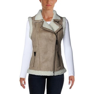 Design History Womens Faux Suede Shearling Outerwear Vest - M