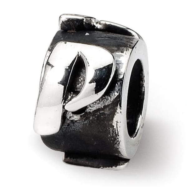 Sterling Silver Reflections Letter P Message Bead (4mm Diameter Hole)
