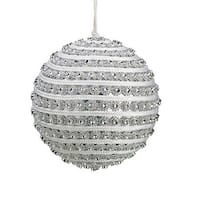 4.5 in. Glitzy And Glamorous Spiral Silver Rhinestone Christmas Ball