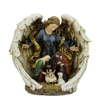 """11.25"""" Jewel Tones Religious Holy Family with Guardian Angel Christmas Nativity Figure - multi"""