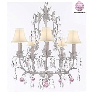 White Wrought Iron Floral Chandelier Lighting With Pink Crystal Balls And Shades