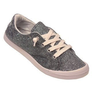 Adult Silver Shimmery Texture Lace-Up Closure Trendy Casual Sneakers