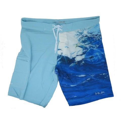 Huk Men's KC Scott Double Down Maui Ice Blue Size 36 Fishing Boardshorts