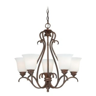 Vaxcel Lighting H0154 Hartford 5 Light Single Tier Chandelier with Glass Shades - 25 Inches Wide