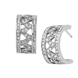 Van Kempen Art Deco Half-Hoop Earrings with Swarovski Crystals in Sterling Silver - White