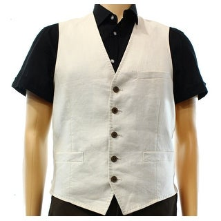 INC NEW Stone Block Beige Mens Size Small S Linen Blends Waistcoat Vest