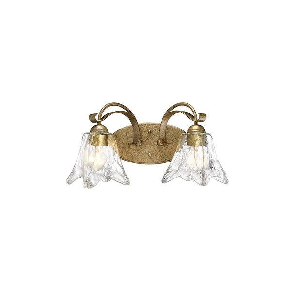 "Millennium Lighting 7452 Chatsworth 2 Light 17"" Wide Vanity Light with Fluted Clear Glass Shades - vintage gold"