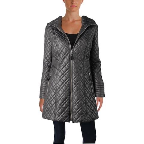 Via Spiga Women's Center Zip Lightweight Hooded Diamond Quilt Midi Coat