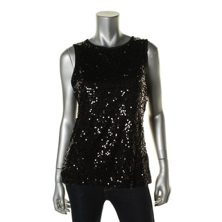 Onyx Nite Womens Sequined Lined Tank Top