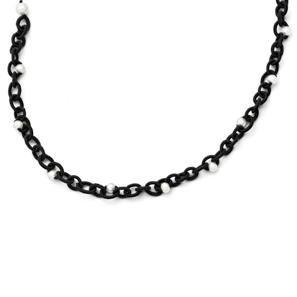 Chisel Black Fabric with White Fresh Water Cultured Pearls Necklace (8 mm) - 17.5 in