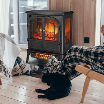 Ainfox Stove Heater with Remote Control and 12H Timer, Portable Electric Infrared Quartz Heat Log Flame Realistic Flame Effect
